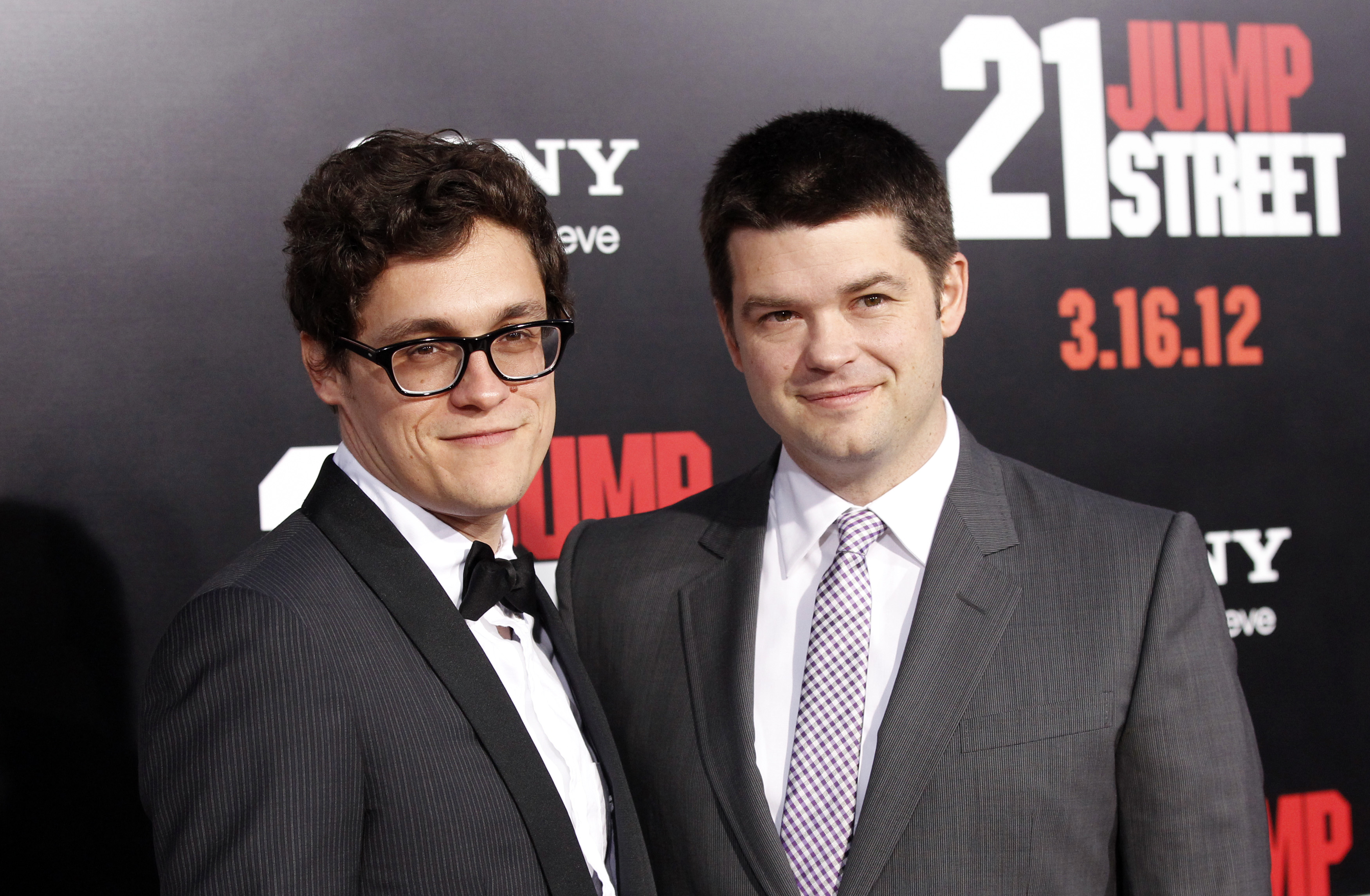"Directors Lord and Miller pose at the premiere of ""21 Jump Street"" at the Grauman's Chinese Theatre in Hollywood"