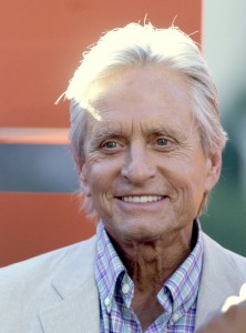 """Actor Michael Douglas is seen during a ceremony with cast members of """"Last Vegas"""" and director Jon Turteltaub in front of the Bellagio Hotel Casino in Las Vegas, Nevada"""