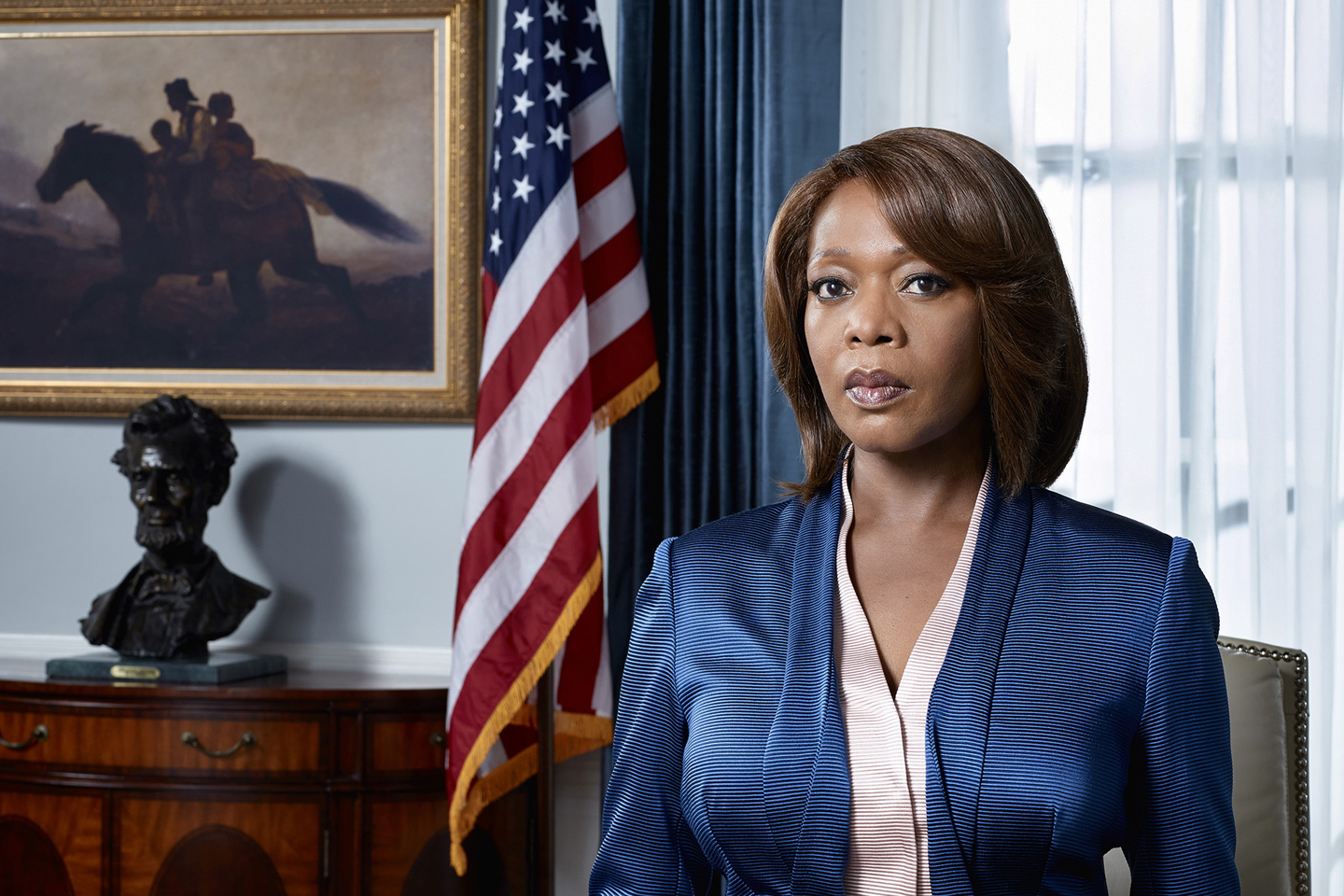 TV STILL -- DO NOT PURGE -- STATE OF AFFAIRS -- Season: 1 -- Pictured: Alfre Woodard as President Constance Payton -- (Photo by: Nino Munoz/NBC)