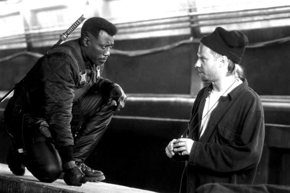 BLADE, Wesley Snipes, director Stephen Norrington on set, 1998, (c)New Line Cinema