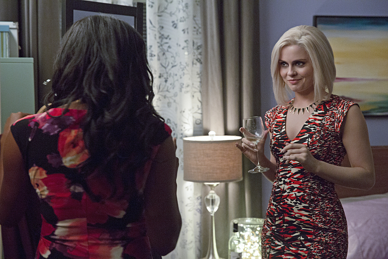 "iZombie -- ""Real Dead Housewife of Seattle"" -- Image Number: ZMB_203a_4076.jpg -- Pictured (L-R): Jazz Raycole as Bethany Miller and Rose McIver as Olivia ""Liv"" Moore -- Photo: Jack Rowand /The CW -- © 2015 The CW Network, LLC. All rights reserved."