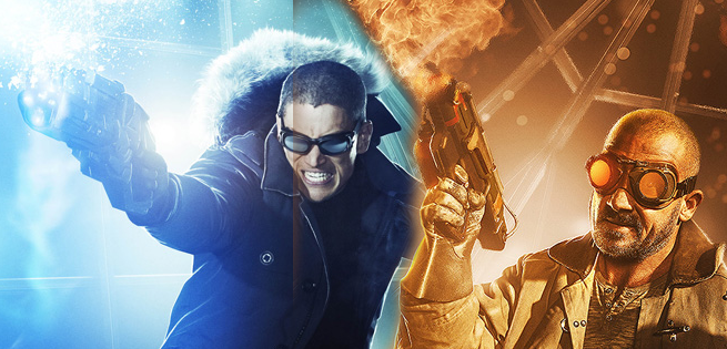 "DC's Legends of Tomorrow -- ""Blood Ties"" -- Pictured (L-R): Wentworth Miller as Leonard Snart/Captain Cold, Dominic Purcell as Mick Rory/Heat Wave Photo: The CW -- © 2015 The CW Network, LLC. All Rights Reserved."