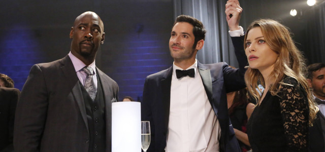 "LUCIFER: L-R: DB Woodside, Tom Ellis and Lauren German in the ""Wingman"" episode of LUCIFER airing Monday, March 7 (9:01-10:00 PM ET/PT) on FOX. ©2016 Fox Broadcasting Co. CR: FOX"
