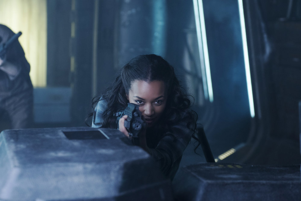 "DARK MATTER -- "" I've Seen The Other Side of You  "" Episode 203 -- Pictured: Melanie Liburd as Nyx -- (Photo by: Christos Kalohoridis/Prodigy Pictures/Syfy)"