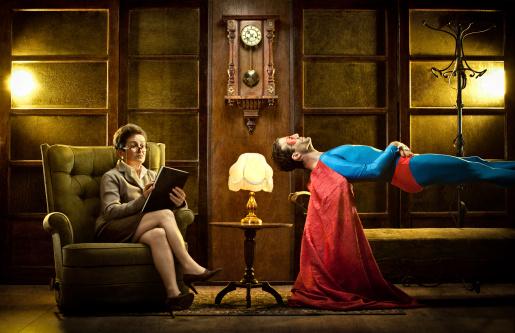 flying superhero psycho therapy at sleeping psychiatrist studio