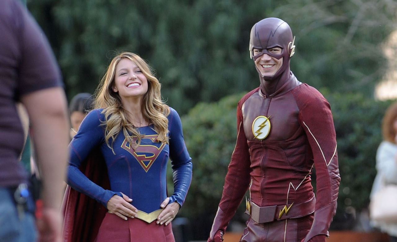 "Melissa Benoist get into character while filming new scenes for her hit show ""Supergirl"" with special guest Grant Gustin as Flash for the special episode. Calista Flockhart was also seen on set in Los Angeles and was being saved by the 2 heroes as she gets hassled by 2 villains.  Featuring: Melissa Benoist, Grant Gustin Where: Los Angeles, California, United States When: 23 Feb 2016 Credit: Cousart/JFXimages/WENN.com  **Not avialable for publication in New Zealand and Australia**"