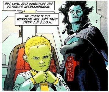 Dans les nombreux clone de Brainiac, il fallait bien à un moment donné, une apparence plus touchante et plus enfantine. C'est là qu'apparait Lyrl Dox - Brainiac 3.